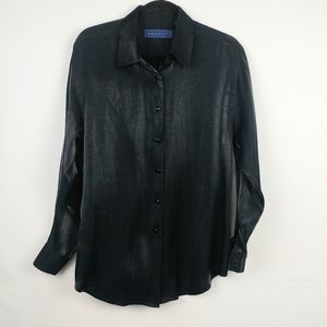 Black and Sliver Iridescent Button Down Shirt